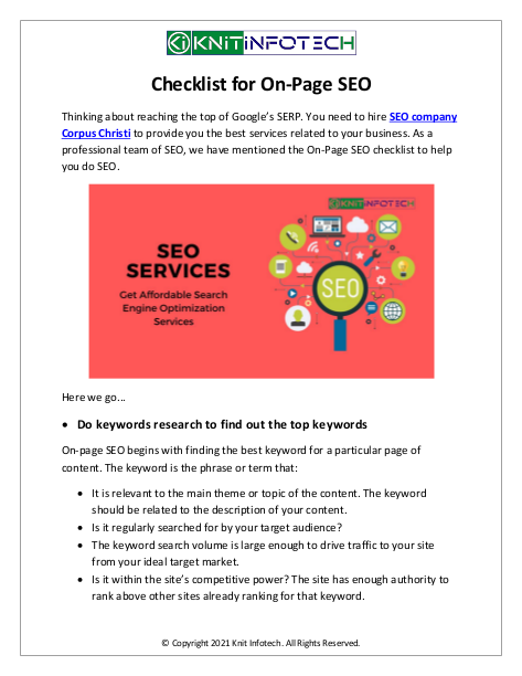 Checklist for On-Page SEO